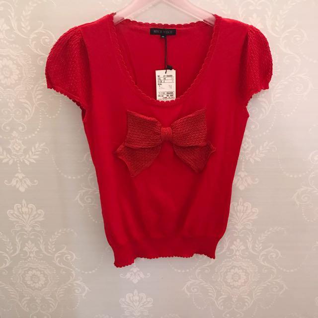 日本品牌Misch Masch紅色圓領短袖蝴蝶結上衣