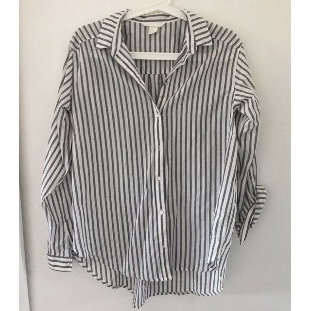 NEW H&M Black and White cotton shirt Size 8