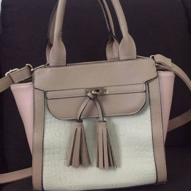 Pink And Tan Handbag