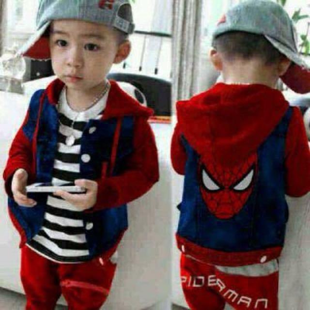 Set Spiderman Jaket Dan Celana