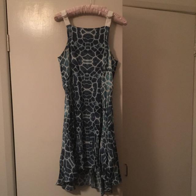 Shakuhachi Blue Giraffe Print Dress