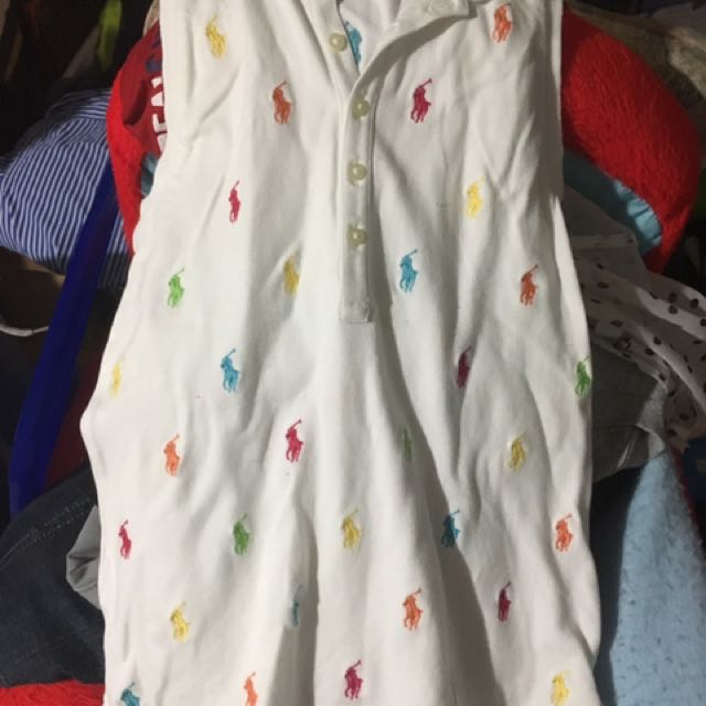 Sleeveless White Ralph Lauren Girls Polo Shirt