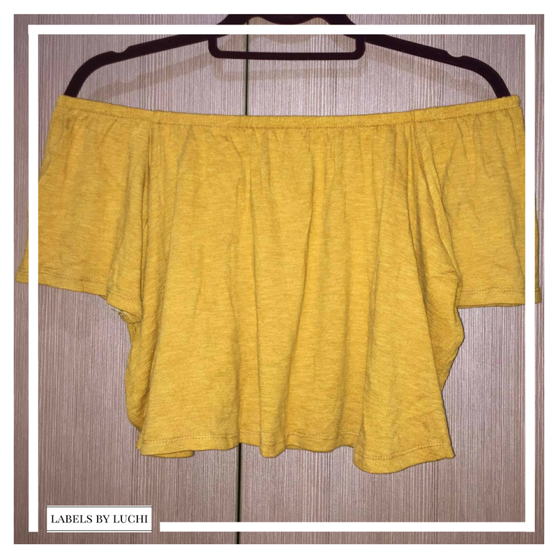 SMALL Mustard straight across short-sleeved cropped off-shoulder top