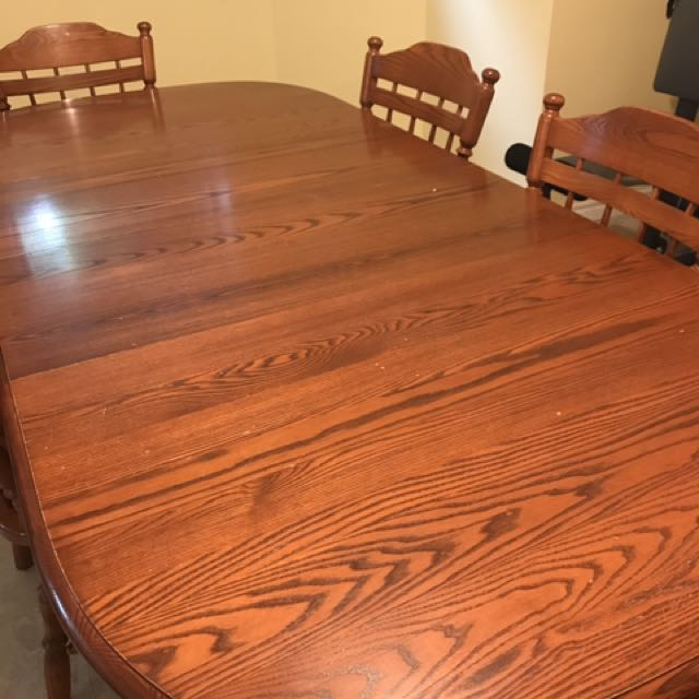 Solid Oak Dining Room Table And Six Chairs