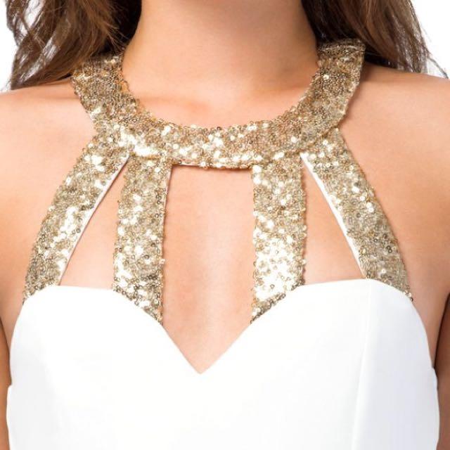 Tobi Xsmall White/Gold Dress