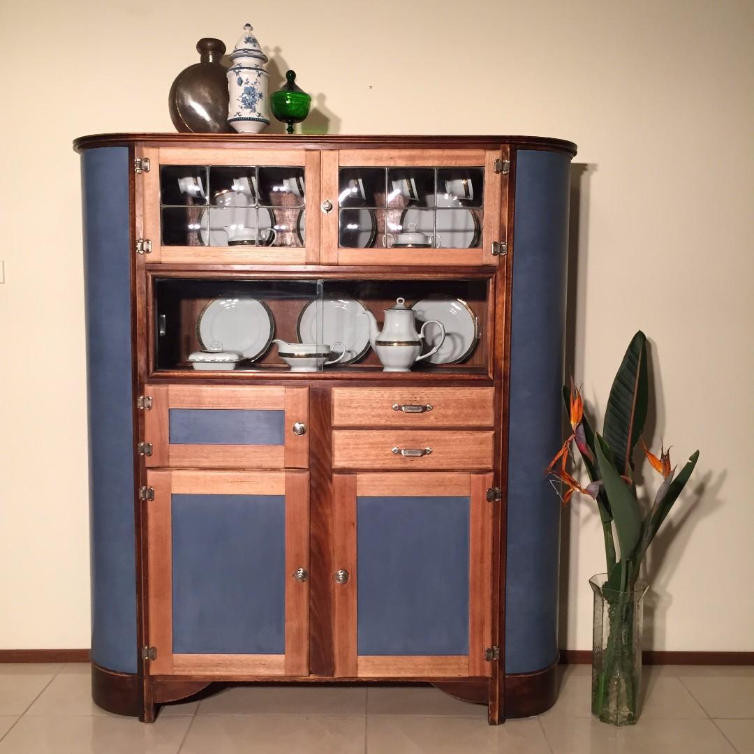 Vintage Art Deco kitchen dresser with lead light windows & ice chest compartment