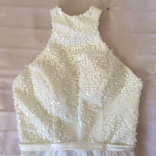 White Halter Ball Gown