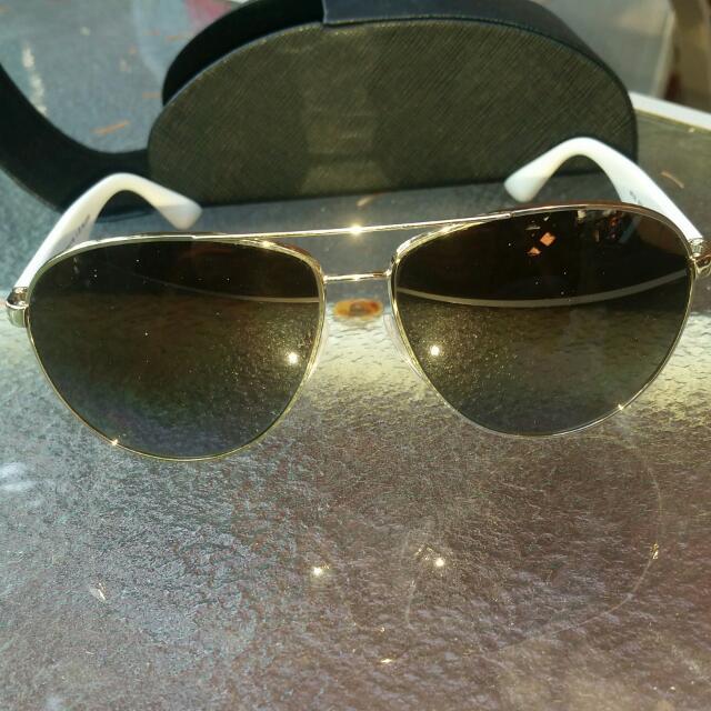 White Prada Aviator Mens Sunglasses