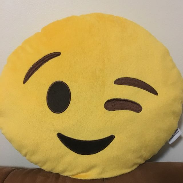 Winking Emoji Pillow