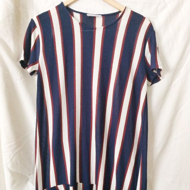 Zara - Blue Red White Stripes Midi Dress