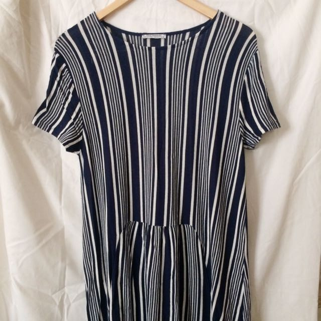 Zara - Blue White Striped Midi Dress