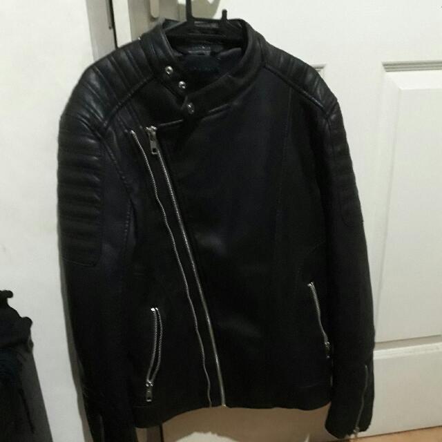 Zara Man Leather Biker Double Breasted Jacket