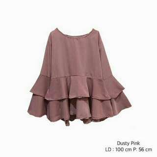 Blouse Peplum Dusty Pink