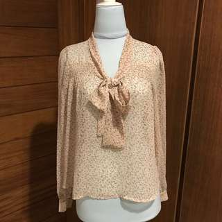 Forever 21 Flower Blouse with Bow Detail
