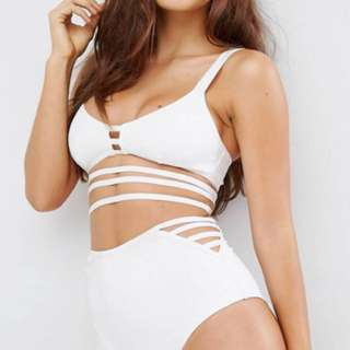 ASOS Two Piece White Scuba High Waisted Bathing Suit (top and bottom) (SIZE 6 US- Fits Small)