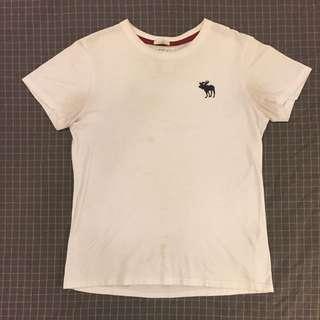 正品 A&F Abercrombie & Fitch 刺繡 大標 麋鹿 白 棉 基本款 短袖T ( 吊牌保留 )