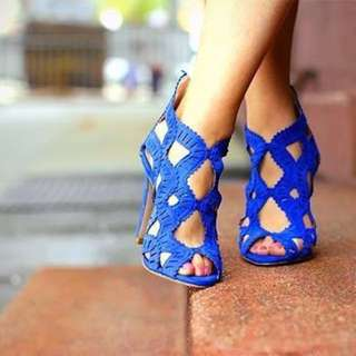 ZARA Bright Blue Leather Cut Out Stilettos