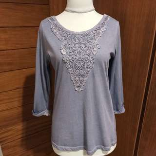 Stradivarius Top with Lace Detail and Low Back