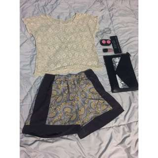 Baju Crop Tee & H&M Short Pants