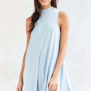 Blue Mock-Neck Dress
