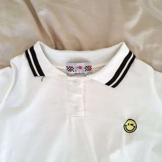 Crop Polo with Embroidered Smiley