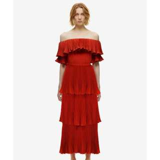 Self-Portrait Off the Shoulder Red Pleated Maxi Dress