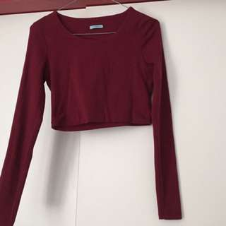Kookai Crop Long Sleeve Top Size 2
