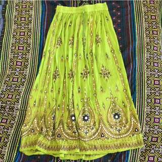further 40% off- bohemian green maxi skirt