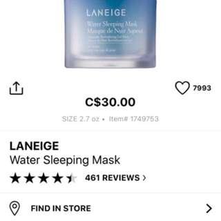 Laneige Water Sleeping Mask New