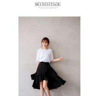 全新✨MIUSTAR交叉式鬆緊直條壓紋雪紡魚尾裙