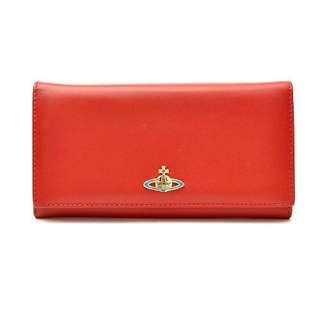 《正品保證》VivienneWestwood 基本款 彩色土星 真皮羊皮長夾 紅色