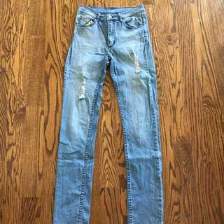 High Waisted Light Washed Cheap Monday Skinny Denim Jeans