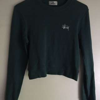 Stussy Cropped Turqouise Jumper