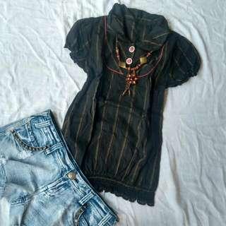 Baju Atasan Black Stripe