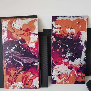 2 Pc 8x16 Acrylic Abstract Painting