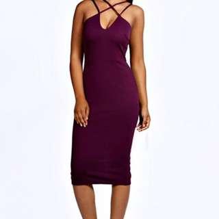 Purple Midi Dress Size 10