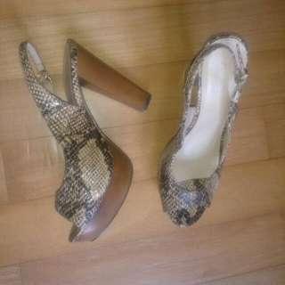 Amante Faux Leather Peep Toe Heels