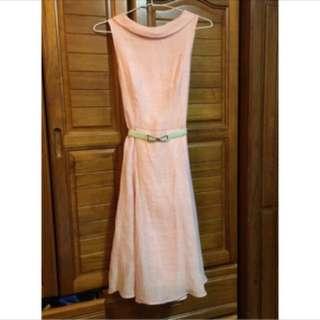 氣質粉色無袖洋裝