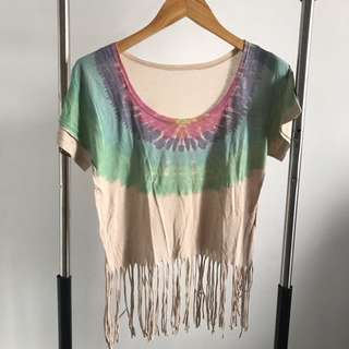 NEW - TIE DYE FRINGE TOP