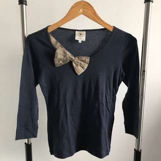 NEW - RIBBON NAVY TOP