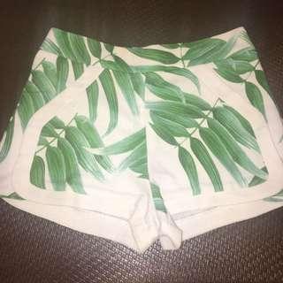 Mid Rise Green Leaf Shorts
