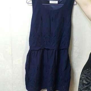 東京衣著 藍色刺繡背心連身裙