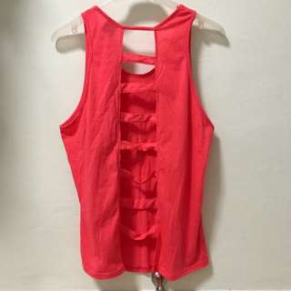 Patterned Back Pink Workout Singlet