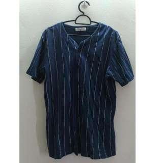 Dark Blue with White Stripes Baseball Shirt