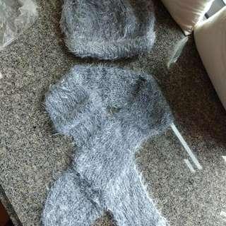 全新人手織冷帽頸巾