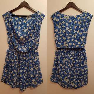 PRELOVED OPEN-BACK FLORAL BLUE DRESS