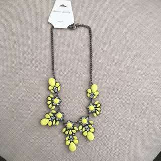 Lime Green Jeweled Necklace