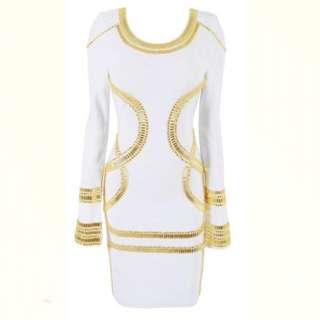 White / Gold Embellished Bandage Dress