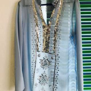 Soft Blue Embroidered Top
