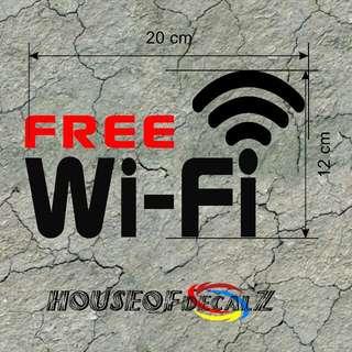 Diecut Vinyl Decal 'Free Wifi' For Passenger Van,Cafe,Club,Bus,Taxi,Grabcar,Uber,Restaurant.Etc..